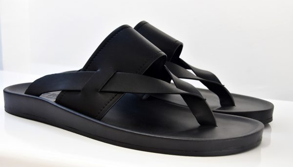 Black Open Toe Slippers