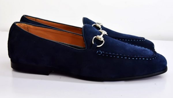 Blue Loafers Shoe with Chain