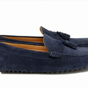 Navy Blue Driver Shoes With Tassel