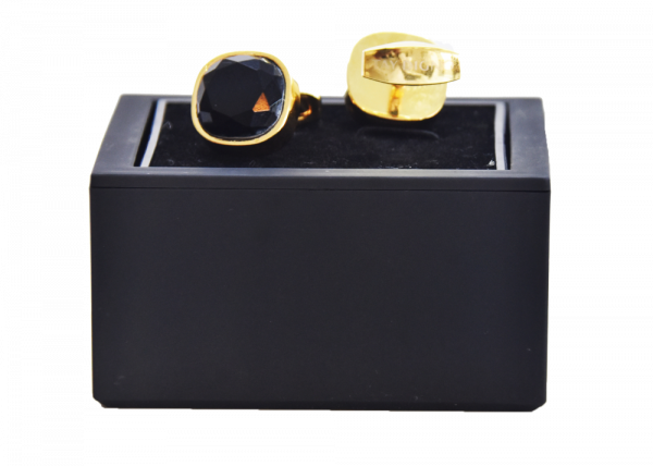 Cufflinks Yellow Gold Plated with Black