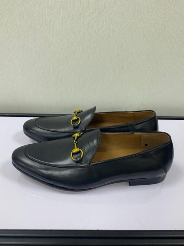 Black Loafers Shoe with Gold Chain