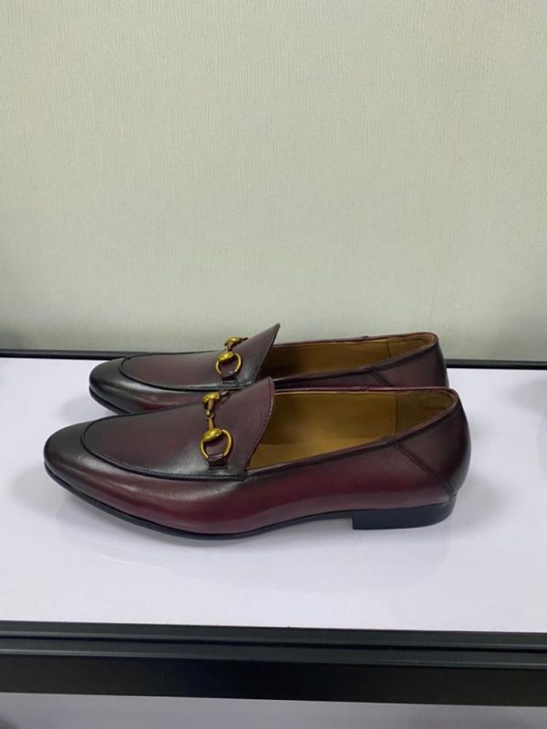 Wine Loafers Shoe with Gold Chain