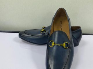 Blue Loafers Shoe with Gold Chain