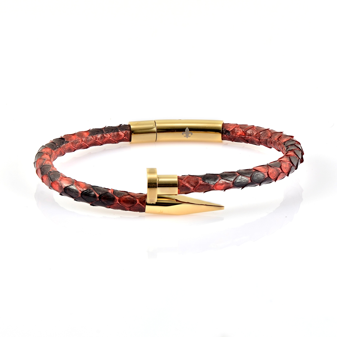 Red Python Leather Gold Nail Bracelet With 18kt Plated Gold