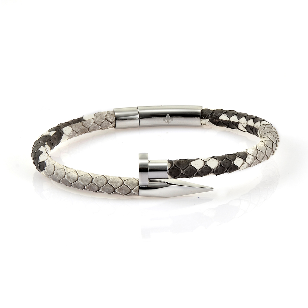 Natural Python Leather Silver Nail Bracelet With Silver Finishing