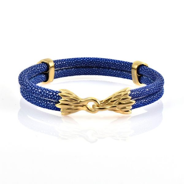 Blue Stingray Leather With 18kt Plated Gold