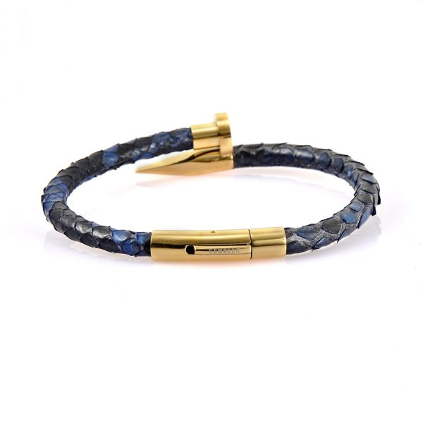 Blue Python Leather Gold Nail Bracelet with 18kt plated gold