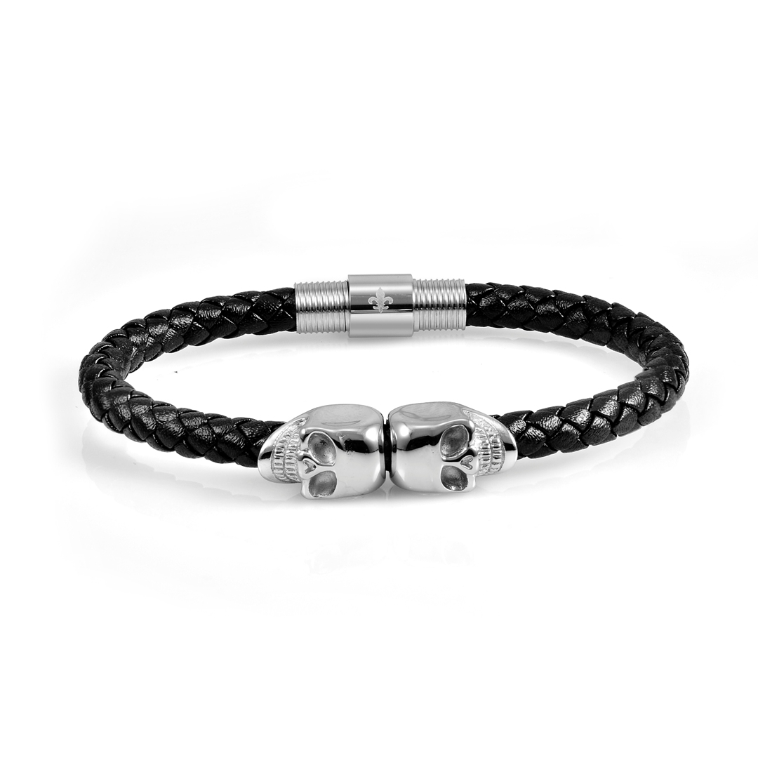 Black Leather Sliver Twins Skull Bracelet