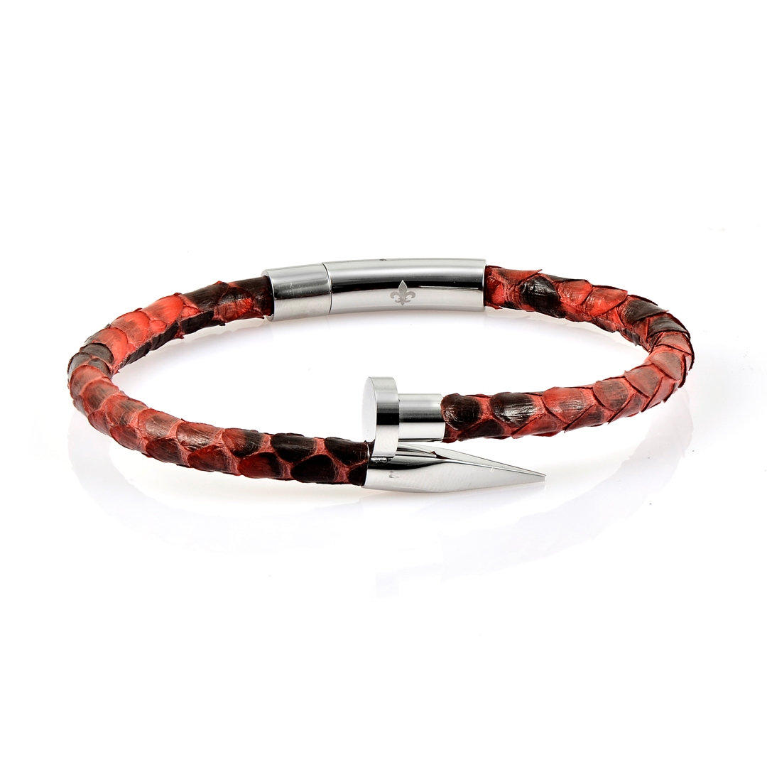 Red Python Leather Silver Nail Bracelet With Silver Finishing