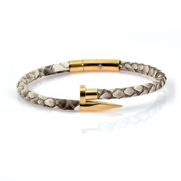 Natural Python Gold Leather Nail Bracelet With 18kt Plated Gold