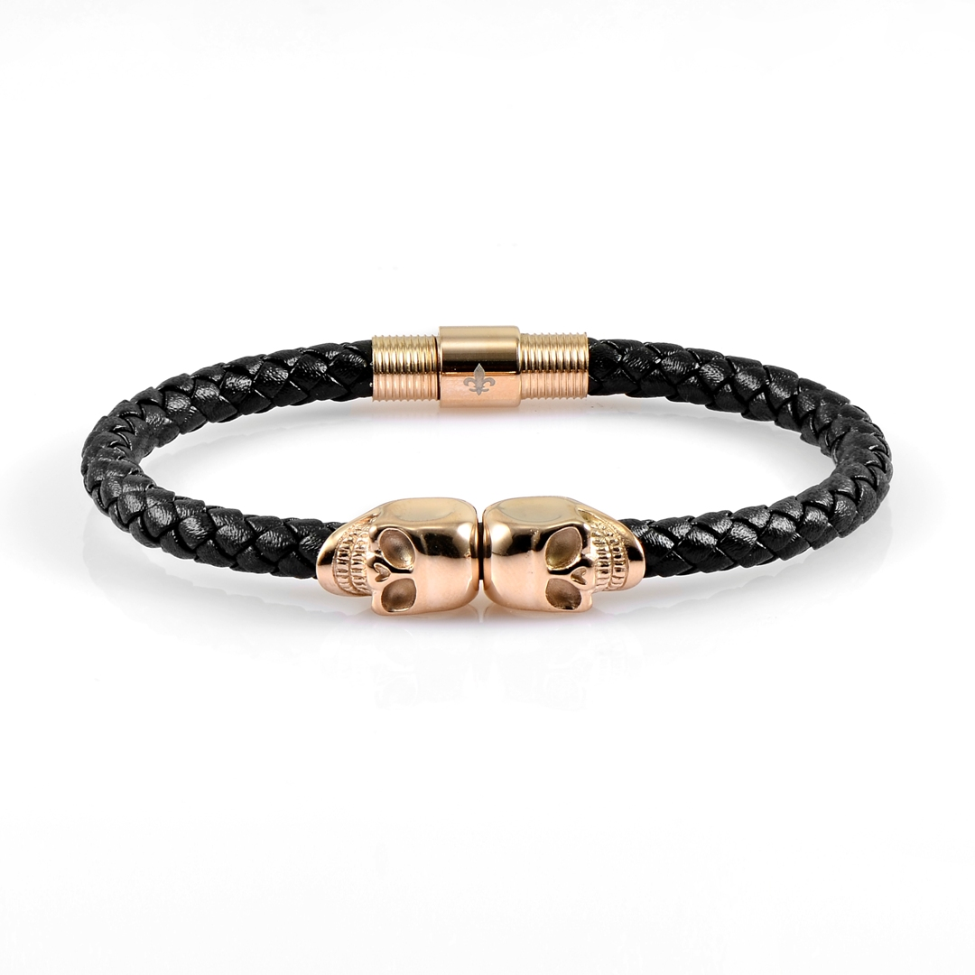 Black Leather Rose Gold Twins Skull Bracelet 18kt Plated Gold