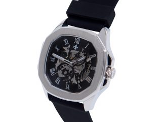 Gemello Sliver With Black Silicon Strap